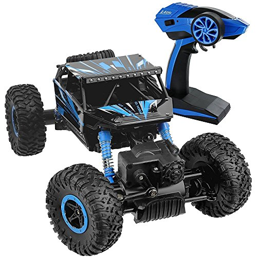 - SZJJX RC Cars Rock Off-Road Vehicle 2.4Ghz 4WD High Speed 1:18 Racing RC Cars Radio Remote Control Cars Electric Rock Crawler Electric Buggy Hobby Car Fast Race Crawler Truck-Blue