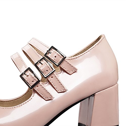 Odomolor Women's Square-Toe Kitten-Heels PU Solid Buckle Pumps-Shoes, Pink, 36