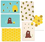48 Pack All Occasion Assorted Blank Note Cards Greeting Cards Bulk Box Set -  6 Honey Bear Designs - Blank on the Inside Notecards with Envelopes Included - 4 x 6 Inches