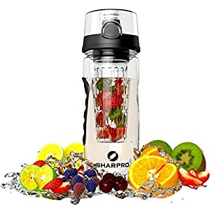 Infuser Water Bottle - Best Fruit Infusion Sports Bottle - Large 32oz - Flip Top Lid - Made of Durable Eastman Tritan By Sharpro