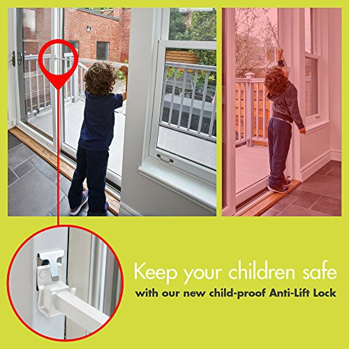 Ideal Security SK110BL SK110 Patio Door Window Security Bar with Child-Proof Lock, Adjustable, Large, Black