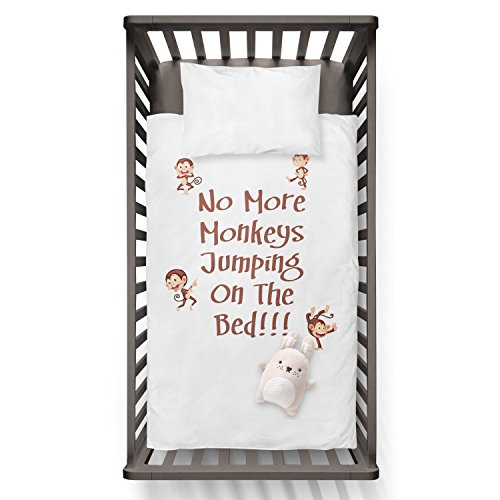No More Monkeys Jumping On The Bed!!! Funny Humor Hip Baby Duvet /Pillow set,Toddler Duvet,Oeko-Tex,Personalized duvet and pillow,Oraganic,gift by Jobhome