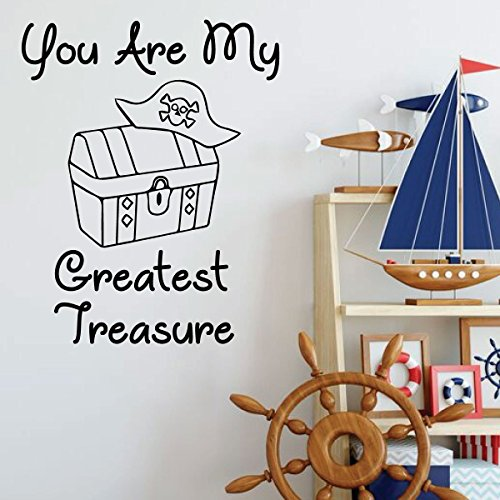 (Pirate Wall Decal for Kids - You Are My Greatest Treasure - Vinyl Decoration for Boys Room, Playroom or Nursery Decor)