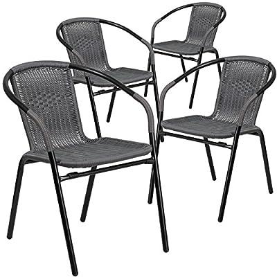 Flash Furniture 4 Pk. Rattan Indoor-Outdoor Restaurant Stack Chair