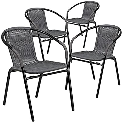 Flash Furniture 4 Pk. Gray Rattan Indoor-Outdoor Restaurant Stack Chair, - Set of 4 Stackable Cafe Chairs Stack Quantity: 23 Curved Back - patio-tables, patio-furniture, patio - 51YXJ4R31nL. SS400  -
