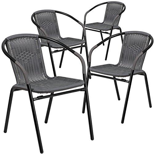 Flash Furniture 4 Pk. Gray Rattan Indoor Outdoor Restaurant Stack Chair