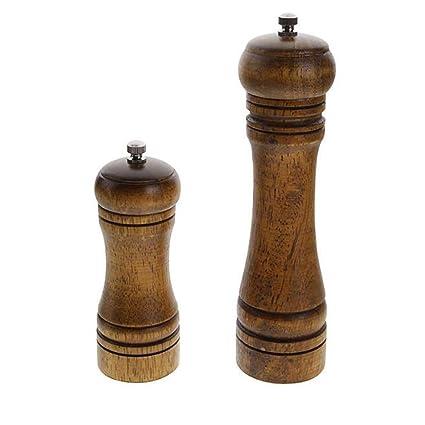 SHMB 2 Piezas, práctica Molinillo de Pimienta de Roble Molinillo de cerámica Herramienta moledora de