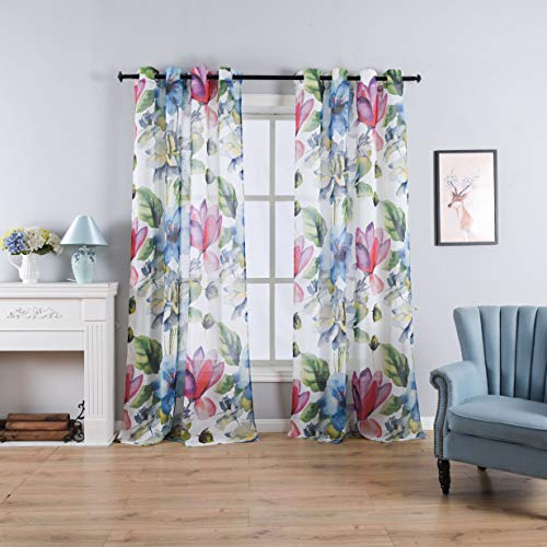 Taisier Home Stylish Living Elegant Abstract Colorful Curtains Printed,Colorful Sheer Curtain Print,Fashion Curtain 84 Inch Lenth for Bedroom(Floral Print Curtain 2 Panels Set) (Sheer Print Panels Curtain)