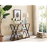 3-tier Weathered Oak / Black Frame Console Sofa Table with X-Designs