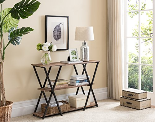 3-tier Weathered Oak / Black Frame Console Sofa Table with X-Designs by eHomeProducts