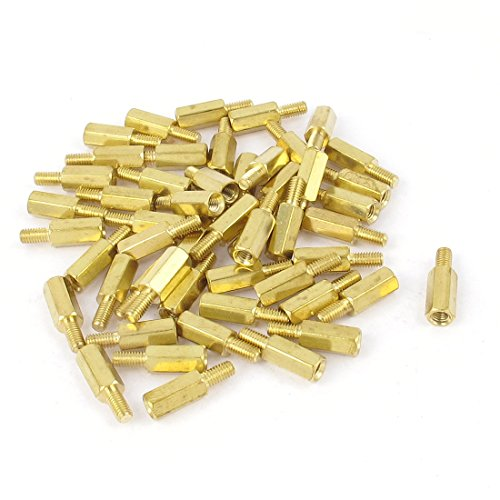 Uxcell a14120500ux0242 50 Piece M3 10 mm+6 mm F/M Hex Nut Brass Standoff Spacer Pillar for PCB Motherboard