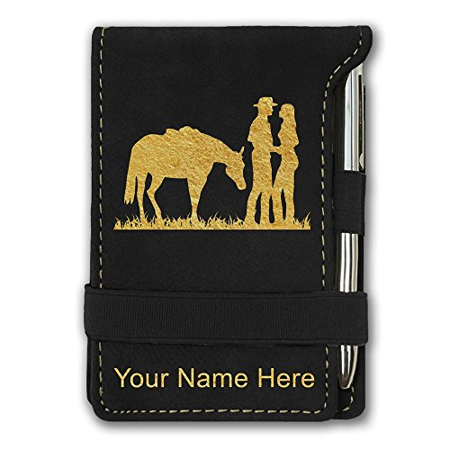 Western Engraving (Mini Notepad, Romantic Country Western, Personalized Engraving Included (Black))