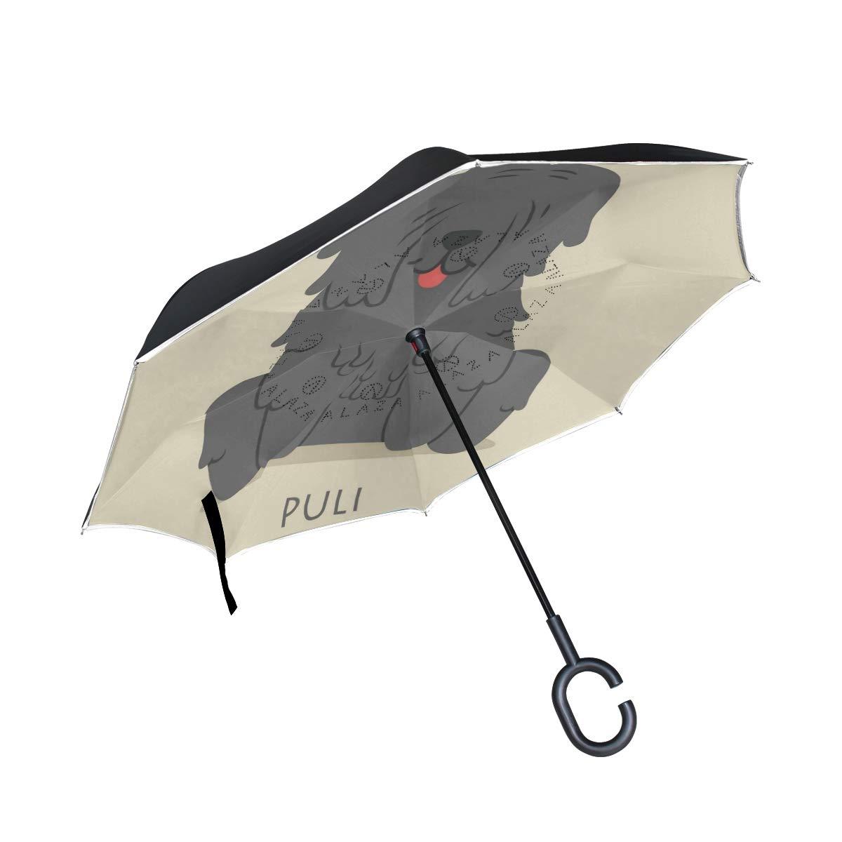ONELUCA プーリ犬 車 リバースゴルフ傘 二層逆折り傘 C型ハンドル アウトドア旅行用   B07S4M7G1K