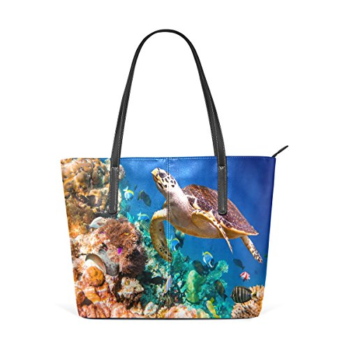 Coral Reef Bag (WOZO Coral Reef Sea Turtle PU Leather Shoulder Tote Bag Purse for Women Girls)