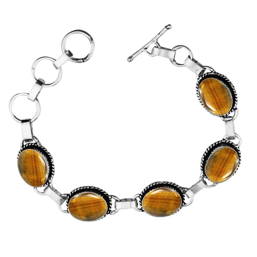 Sterling Silver Plated 5-Stone Boho Vintage Style Handmade Oxidized Finish Bohemian Link Tennis Adjustable Toggle Lock Oval Shape Bracelet with Natural Gemstones for Women and Girls Sterling Silver Jewelry SJH-b033BO