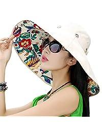 76c976eb62e iHomey Packable Wide Brim Floppy Sun Hat Reversible UPF 50+ Beach Sun  Bucket Hat