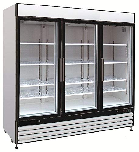 Door Refrigerator Panels Cf (Chef's Exclusive CE331 Commercial 3 Three Swing Triple Glass Door Refrigerated Merchandiser Cooler Showcase LED Lights 72 Cubic Feet 12 Adjustable Shelves Digital Controller Locks, 81 Inch Wide, White)