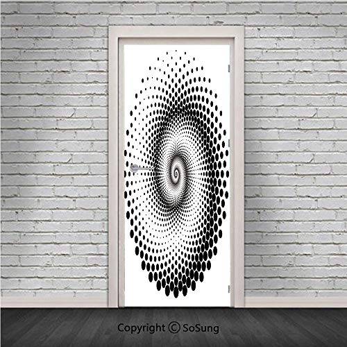 (Abstract Door Wall Mural Wallpaper Stickers,Black Dots Forming a Spiral Shape Monochrome Circle Twist Optical Art Elements Decorative,Vinyl Removable 3D Decals 30.4x78.7/2 Pieces set,for Home Decor Bl)