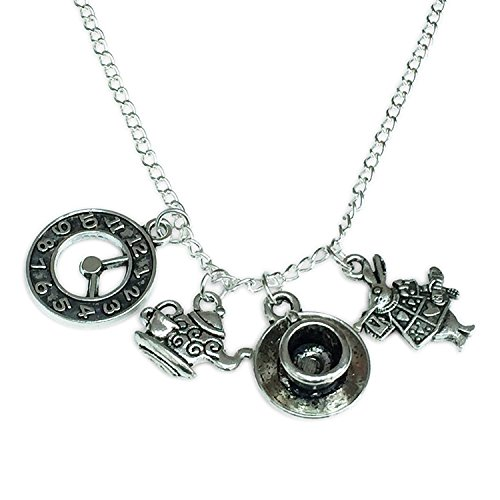 Alice Necklace. Silver Tone Necklace with Clock, Teacup, Teapot and Rabbit Charms (Alice In Wonderland Dormouse Costume)