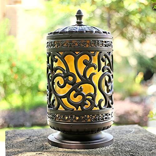Lexluy Outdoor Solar LED Post Lantern with Marble Lampshade Bollard Pillar Light IP54 Waterproof Cylindrical Antique Vintage Exterior Column Lamp