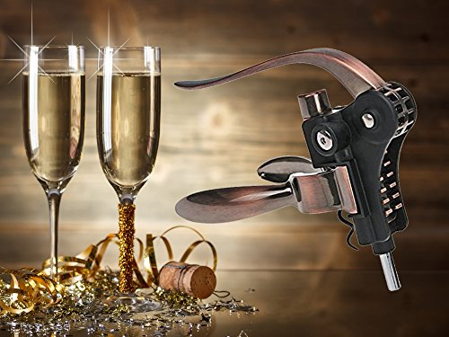 Style Lever Corkscrew Wine Bottle Opener with Foil Cutter and Extra Spiral Gift Set by GSCW (Image #1)