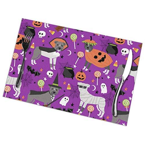 Iliovemymat Pitbull Halloween 1218inch Placemats Set of 6
