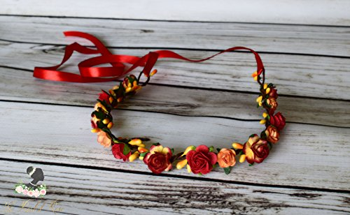 Handcrafted Red Yellow and Soft Orange Flower Crown - Fall Flower Crown - Bridal Flower Crown - Sunset Wedding - Flower Girl Halo - Red Halo
