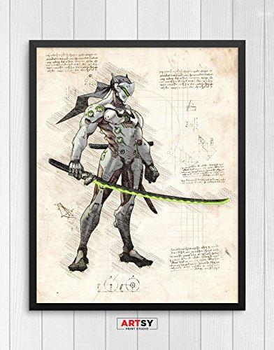 Overwatch print, Genji print, Overwatch poster, Genji poster, game poster, Blizzard N.032 (8 x 10 inch)
