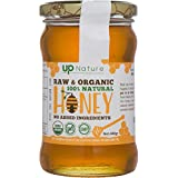 UpNature Raw Organic Honey - 400 Grams Unprocessed and Unheated Pure Honey in a Glass Jar - Sweet and Creamy - USDA Certified - 100% Natural -- Certified Organic - Non-GMO Food - Kosher Certified