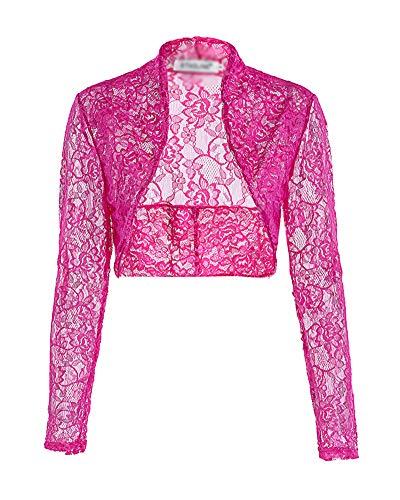 Donna Rose Elegante Lunga Forti Abbigliamento Taglie Crop Cardigan Top Manica Kasen Pizzo Cqd4FF