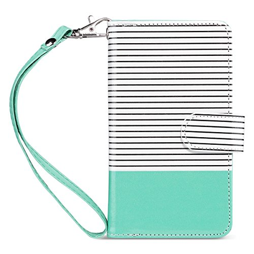 ULAK iPhone 8 case with Card Holder, PU Leather iPhone 7/iPhone 8 Wallet Case with Credit Card Slot Magnetic Closure Flip Wallet Case Cover for Apple iPhone 7/8 4.7 inch- Minimal Mint Stripes