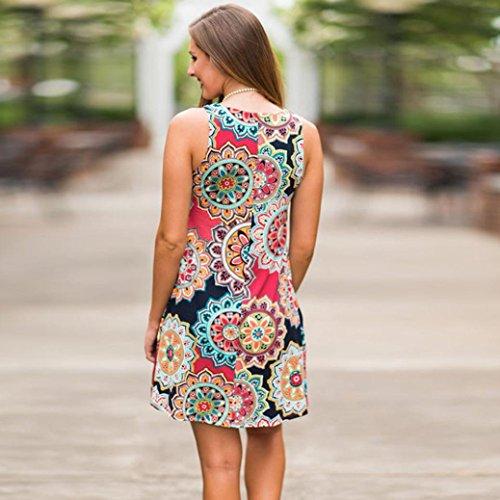 Summer Soire Floral Boho de Vintage Plage Multicolore conqueror Femme Robe Maxi Party 5w7Ox1qA
