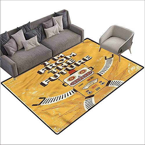 (Polyester Non-Slip Doormat Rugs Colorful Vintage,Future Quote Robot Figure 36