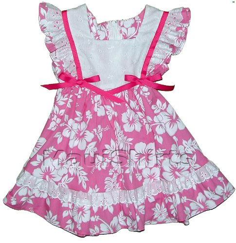 RJC Toddler Girls Maile Hibiscus Eyelet Lace Trimmed Pinafore Dress Bright Pink 2T - Eyelet Trimmed Pinafore