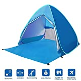 BATTOP Automatic Pop Up Beach Tent Sun Shelter Cabana 2-3 Person UV Protection Beach Shade for Outdoor Activities (LightBlue)