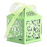 Trimming Shop 50pcs Light Green Candy Gift Favour Box Precise Cut Sweet Love Birds Wedding Birthday Party Baby Shower Event with Ribbons by