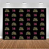 Mehofoto Sweet Sixteen Birthday Backdrop Girl's 16th Black Photography Background 7x5ft Vinyl Hot Pink 16 Birthday Party Banner Supplies