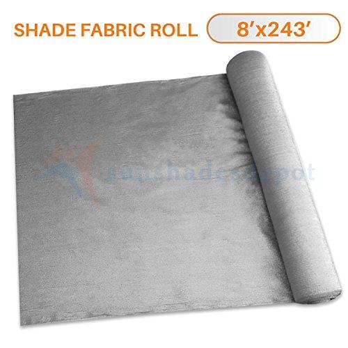 Sunshades Depot 8' x 243' Shade Cloth 180 GSM HDPE Light Grey Fabric Roll Up to 95% Blockage UV Resistant Mesh (243 Five Light)