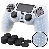 Pandaren STUDDED Anti-slip Silicone Cover Skin Set for PS4 /SLIM /PRO controller(White controller skin x 1 + FPS PRO Thumb Grips x 8)