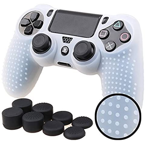 Pandaren STUDDED Anti-slip Silicone Cover Skin Set for PS4 /SLIM /PRO controller(White controller skin x 1 + FPS PRO Thumb Grips x (Xbox 360 Aluminum Triggers)