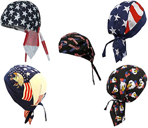 (American Flag Doo Rag Patriotic Skull Caps Eagle Stars and Stripes)