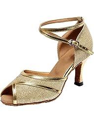 Abby Womens Soft Comfort Practice Beginner Latin Tango Party Pomp Cha-cha Peep Toe PU Professional Dance-shoes