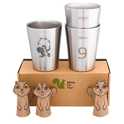 Squirrel Steel (Better For Your - Kids Toddler Stainless Steel Double Wall Tumbler Cups - Small, 8oz (250ml) - Set of 3 - Juggling Squirrel and Numbers 7-8-9)