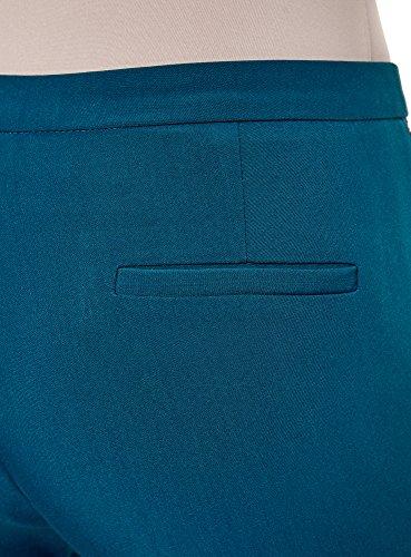 Donna Con Oodji Decorative Stretti Risvoltini Blu 7400n Pantaloni Zip E Ultra 5IOOwq8BR
