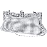 SelfTek Evening Clutch Bag Wedding Prom Party Handbag with Short and Long Chain