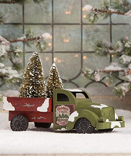 Bethany Lowe Retro Farm Truck with Bottle Brush Christmas Trees Figure