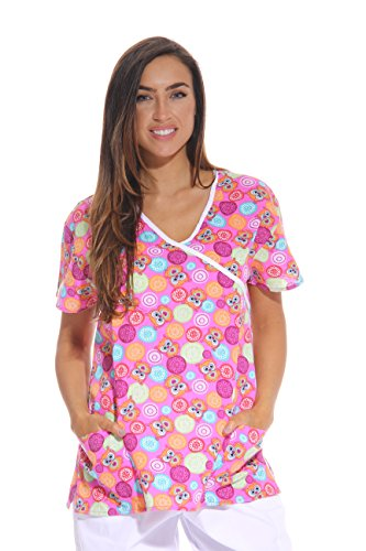 Just Love Women's Scrub Tops / Scrubs - Large - Pink Owl,Pink Owl,Large (Halloween Scrubs)