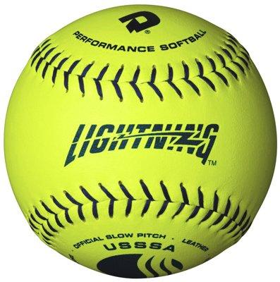 (DeMarini Lightning USSSA Men's Classis C Series Slowpitch Leather Softball (12-Pack), 12-Inch, Optic Yellow )