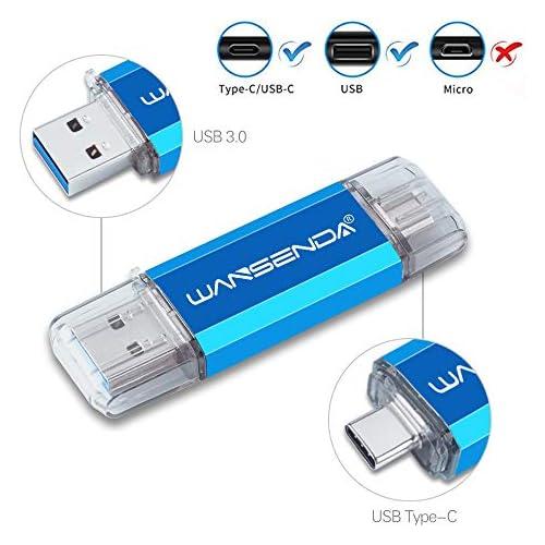 128GB Type C OTG USB C Flash Drive Wansenda 2 in 1 USB Stick USB 3.0 & Type-C Pen Drive High Speed USB Thumb Drive for Android Phone/PC/Mac (Blue)