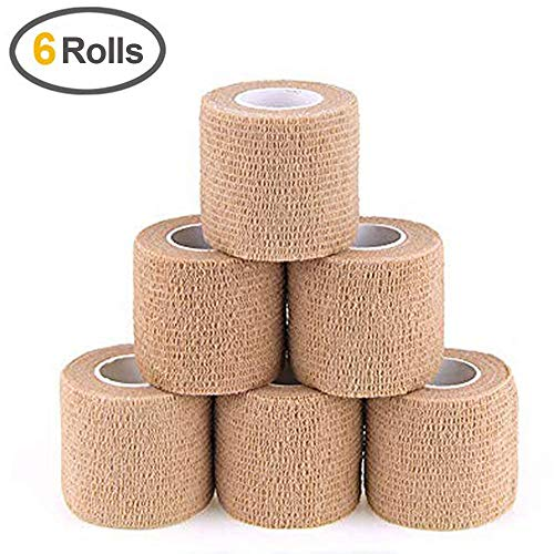 (MUEUSS Self Adhesive Bandage Tape Vet Wrap Self Adherent Cohesive Bandages First Aid Wrap Waterproof Non-Woven Elastic Bandage for Animals Pet Sports Supply FDA Approved 6 Rolls, 2 inches x 5 Yards)